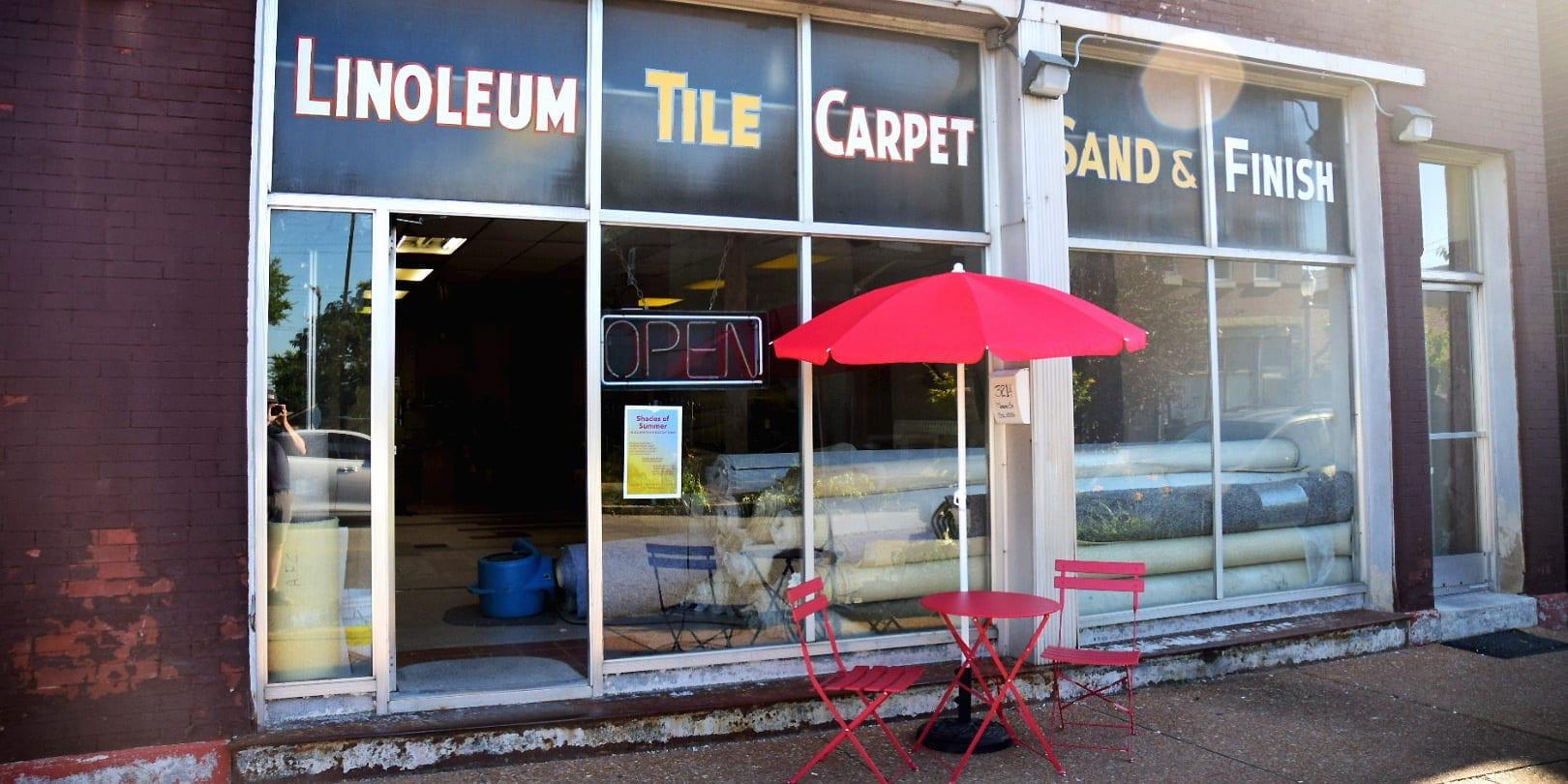 New sidewalk furniture in front of Greenfield Flooring on Meramec Street in Downtown Dutchtown.