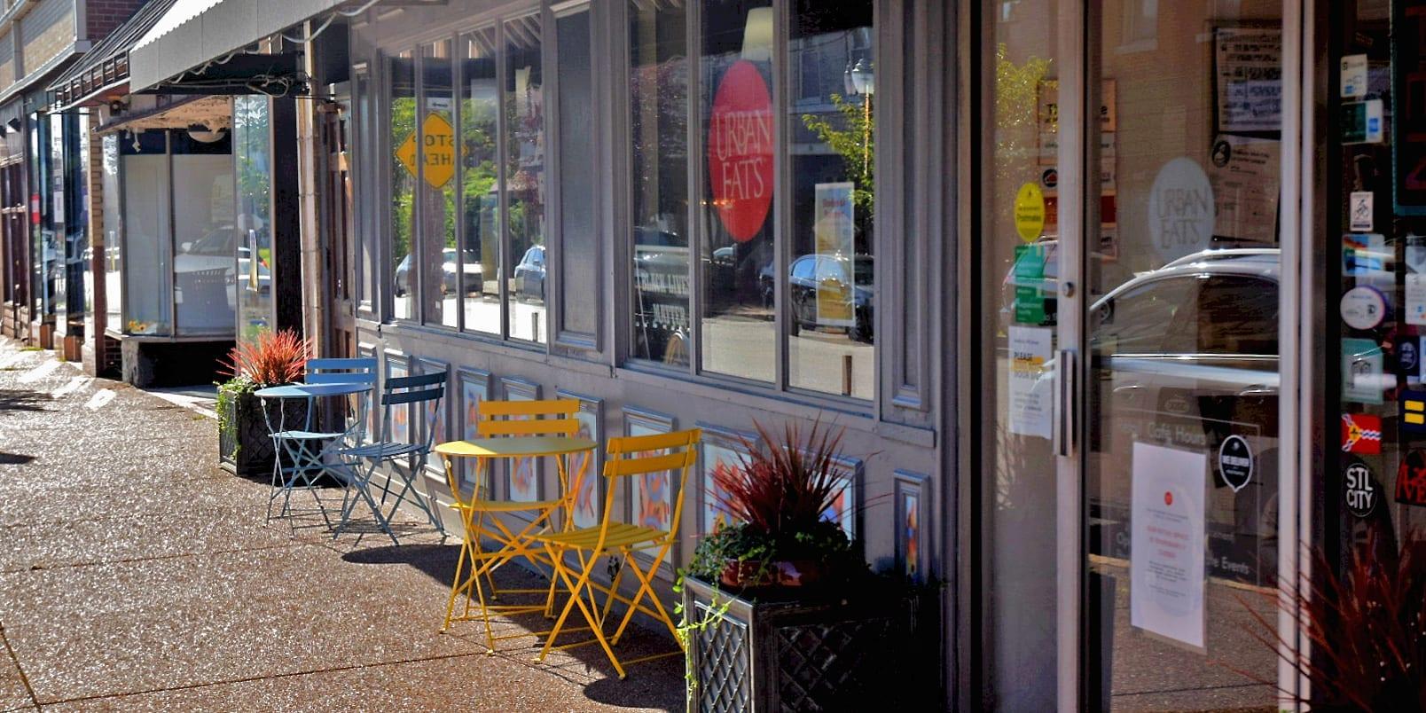 New sidewalk furniture in front of Urban Eats on Meramec Street in Downtown Dutchtown.