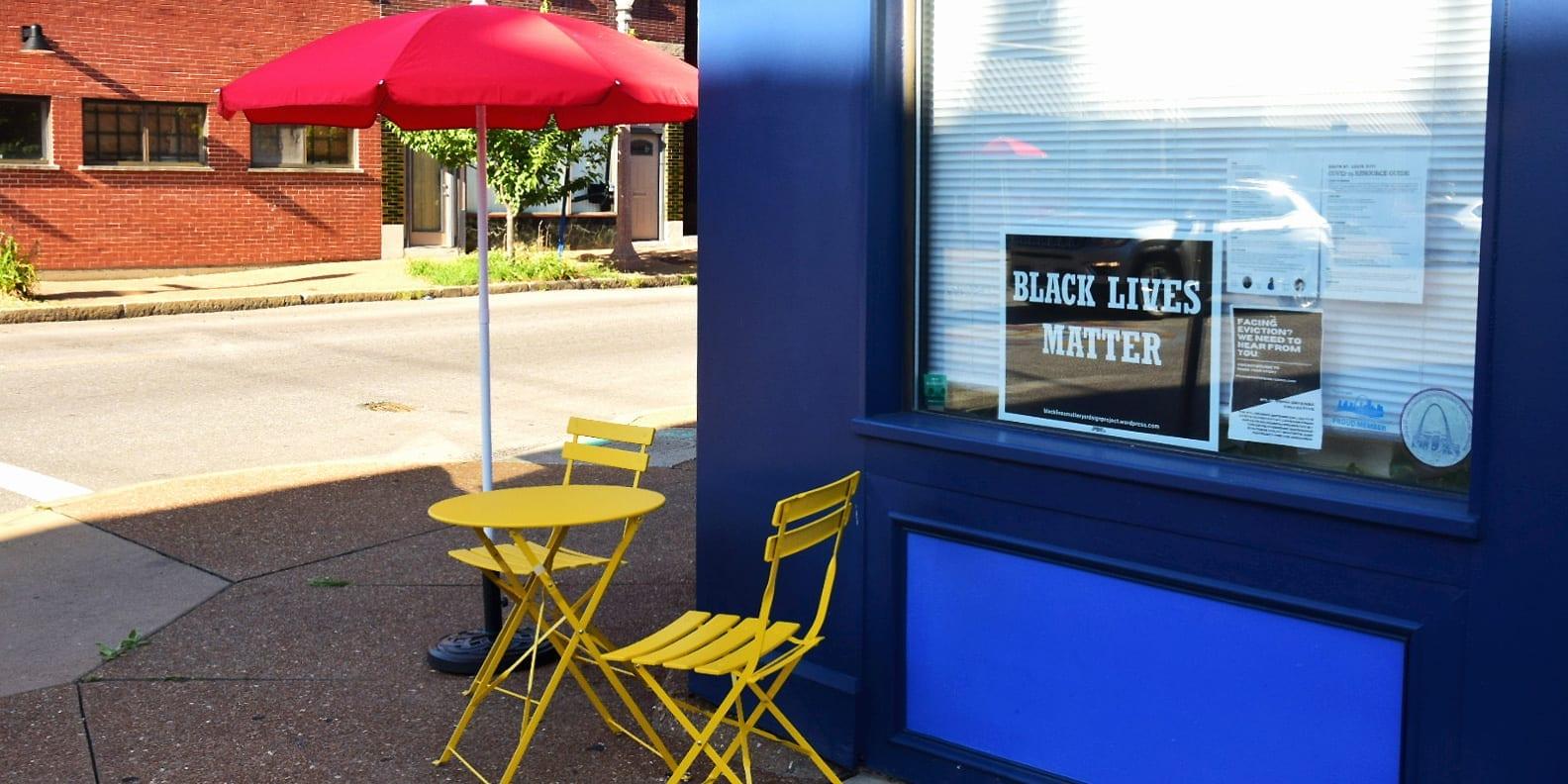 New sidewalk furniture in front of Dutchtown South Community Corporation on Meramec Street in Downtown Dutchtown.