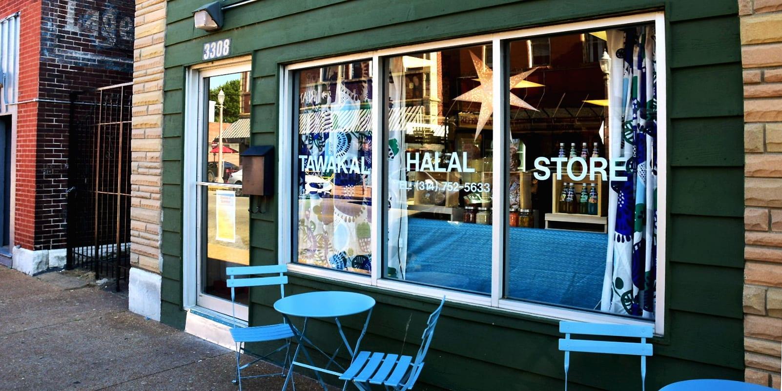 New sidewalk furniture in front of the Tawakal Halal Store on Meramec Street in Downtown Dutchtown.