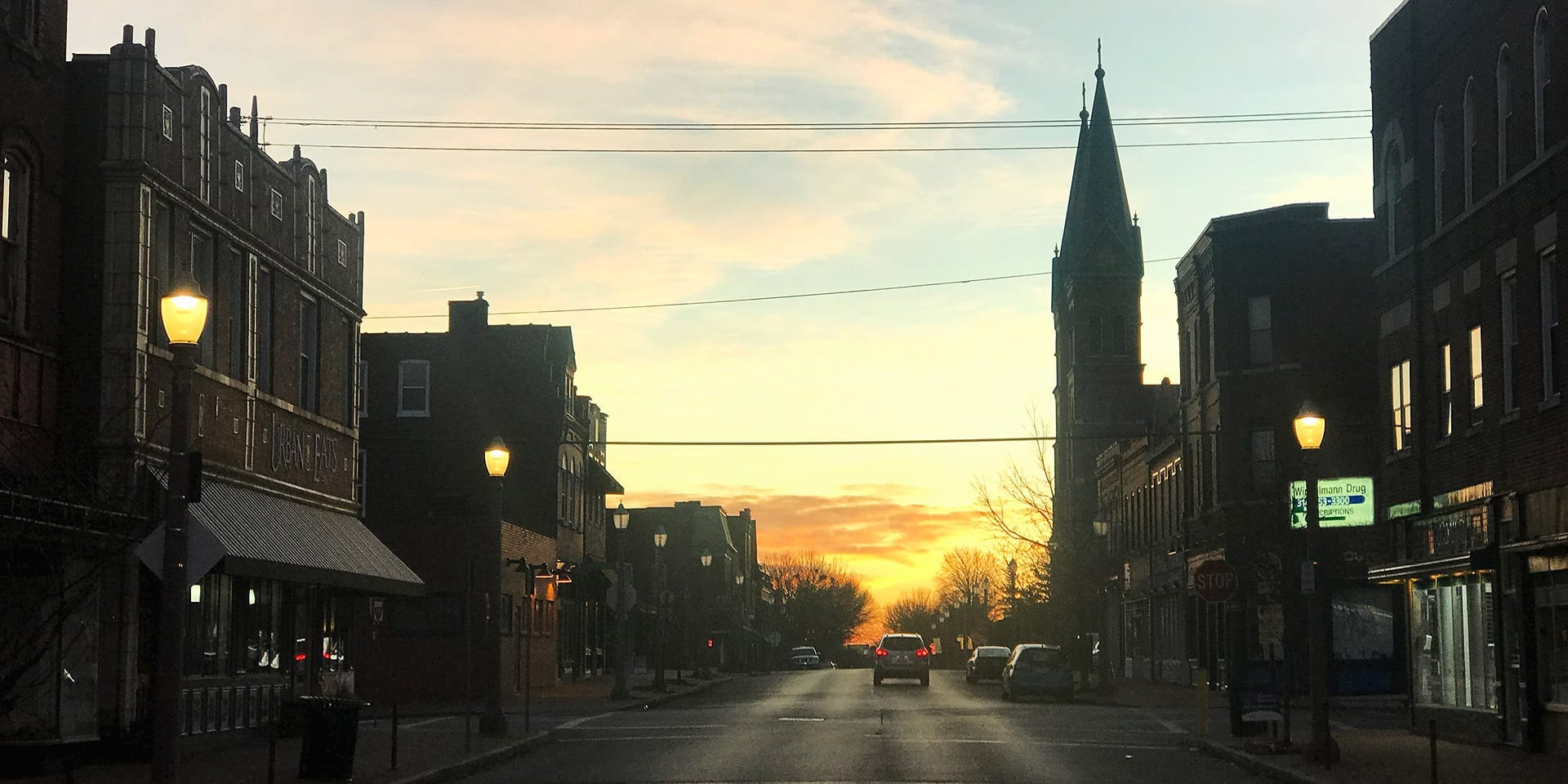 Sunrise on Meramec Street in Downtown Dutchtown, the focus location of the Urban Main initiative.