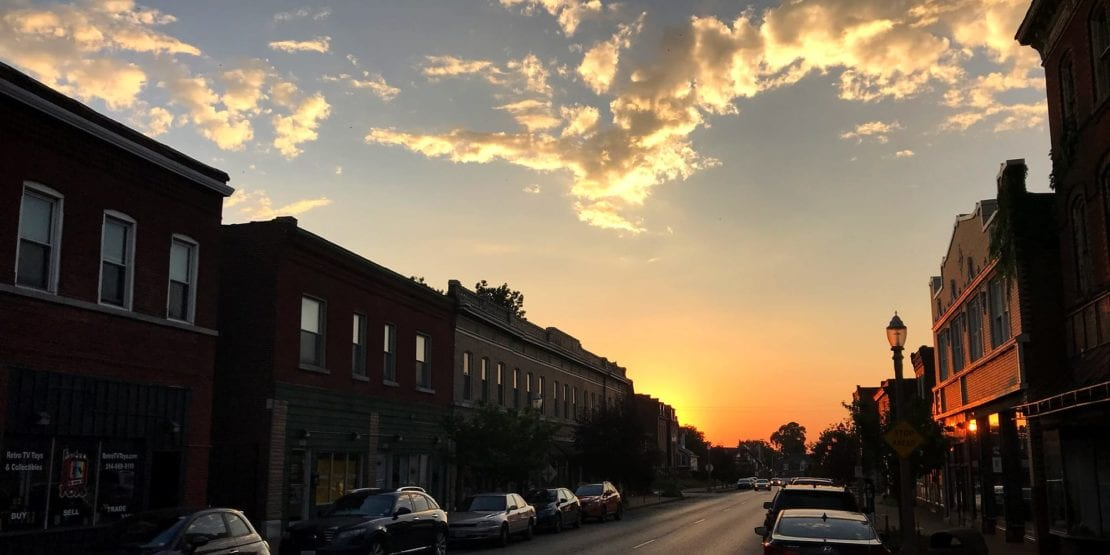 The sun setting over Meramec Street in Downtown Dutchtown, St. Louis, MO.