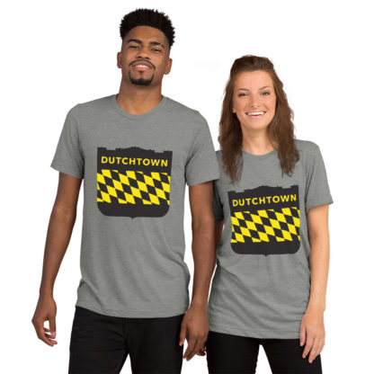 Unisex tri-blend t-shirt on a couple.