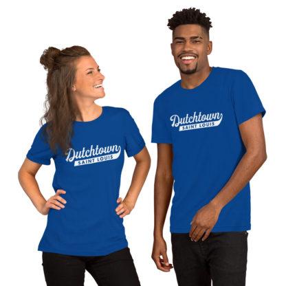 Team Dutchtown unisex t-shirt on a couple.