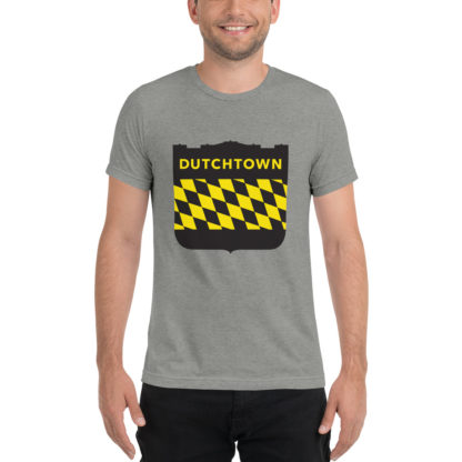 Unisex tri-blend t-shirt on a man.