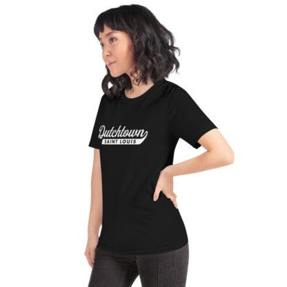 Team Dutchtown unisex t-shirt on a woman.