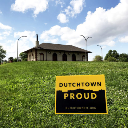 Dutchtown Proud sign in front of the Marquette Park Field House.