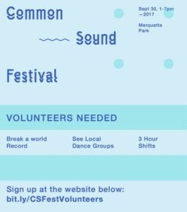 Common Sound Festival volunteer flyer