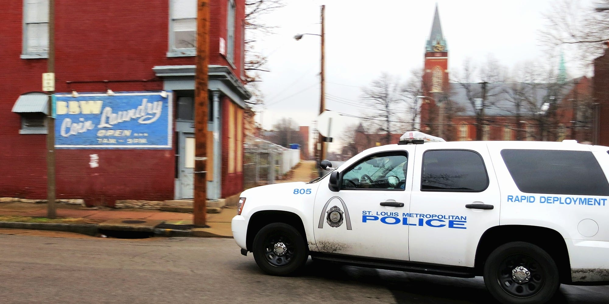 St. Louis police SUV at Iowa nad Miami. Photo by Paul Sableman.