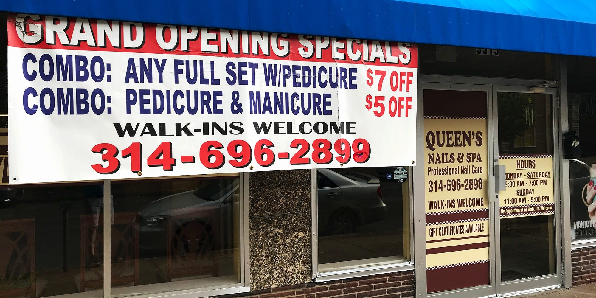 Queen's Nail Salon on Meramec. Photo by Nick Findley.