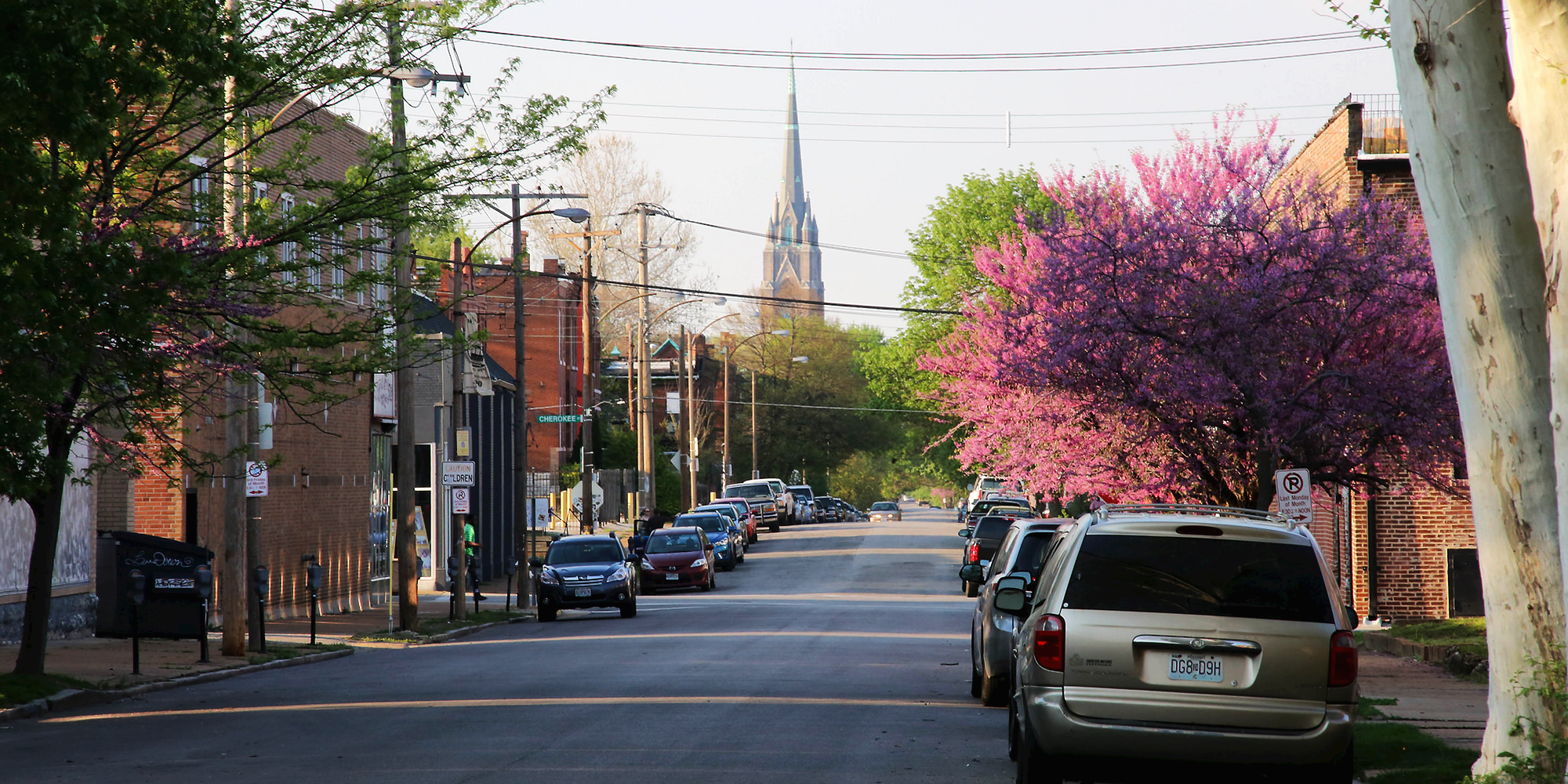 Ohio Avenue at Cherokee, looking north towards St. Francis de Sales Church. Photo by Paul Sableman.