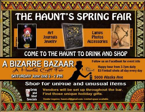 Flyer for the Bizarre Bazaar craft show at the Haunt.