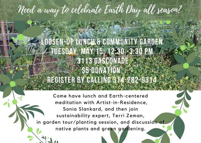 Flyer for Loosen-Up Lunch and Gardening at Thomas Dunn Learning Center.