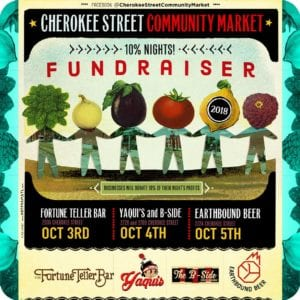 Cherokee Street Community Market 10% night fundraisers October 3rd–5th.