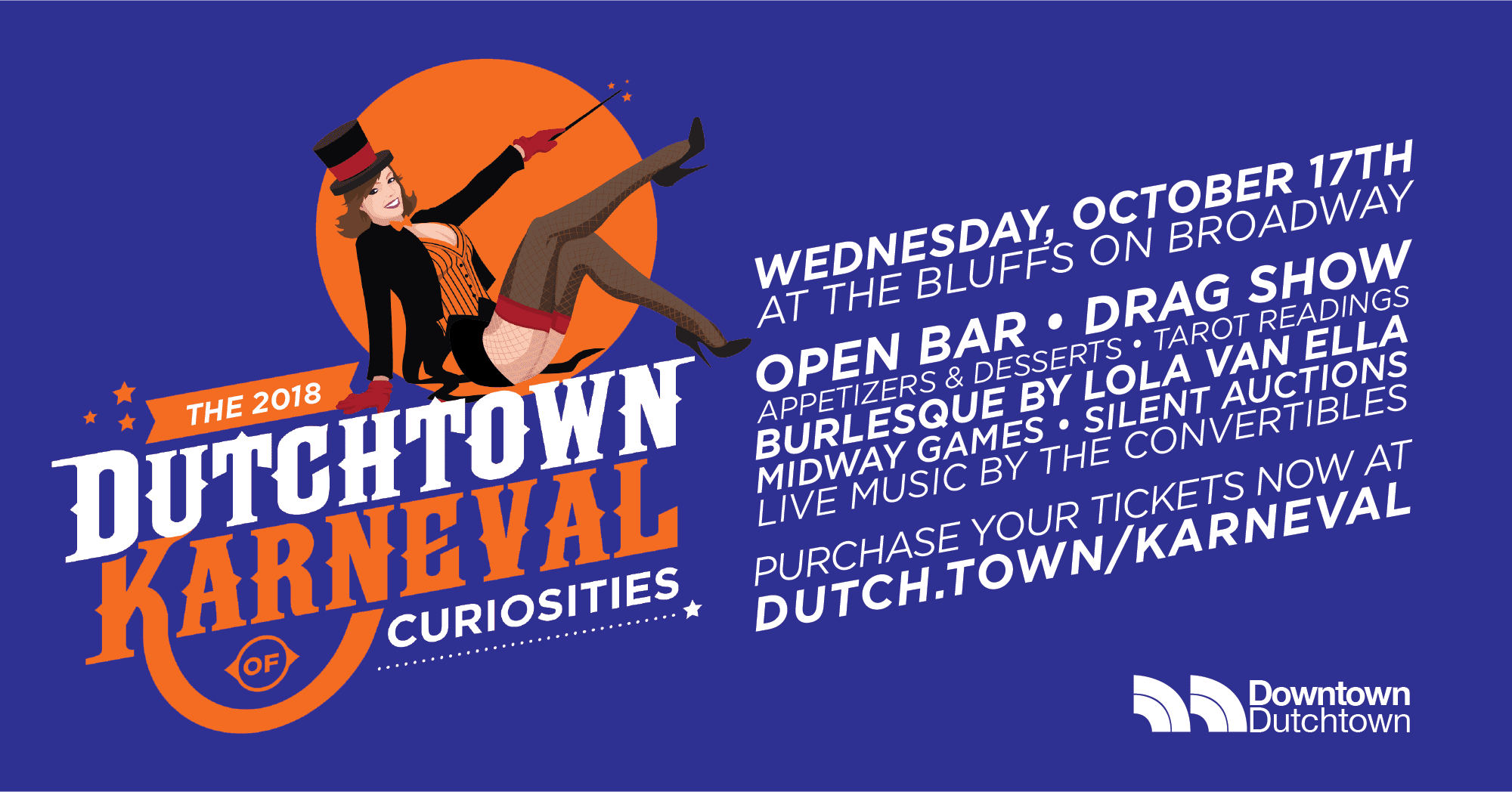 The D2018 Dutchtown Karneval of Curiositeis, Wednesday, October 17th at the Bluffs on Broadway.