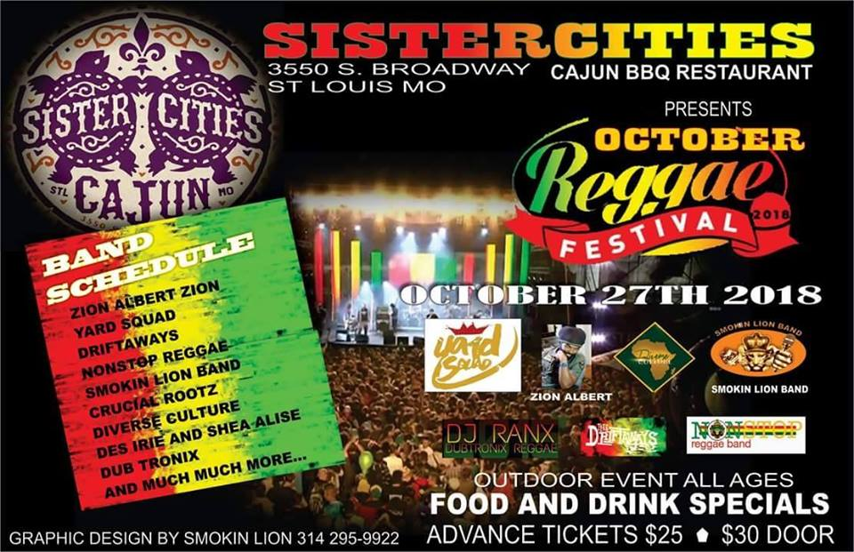 October Reggae Festival at Sister Cities Cajun.