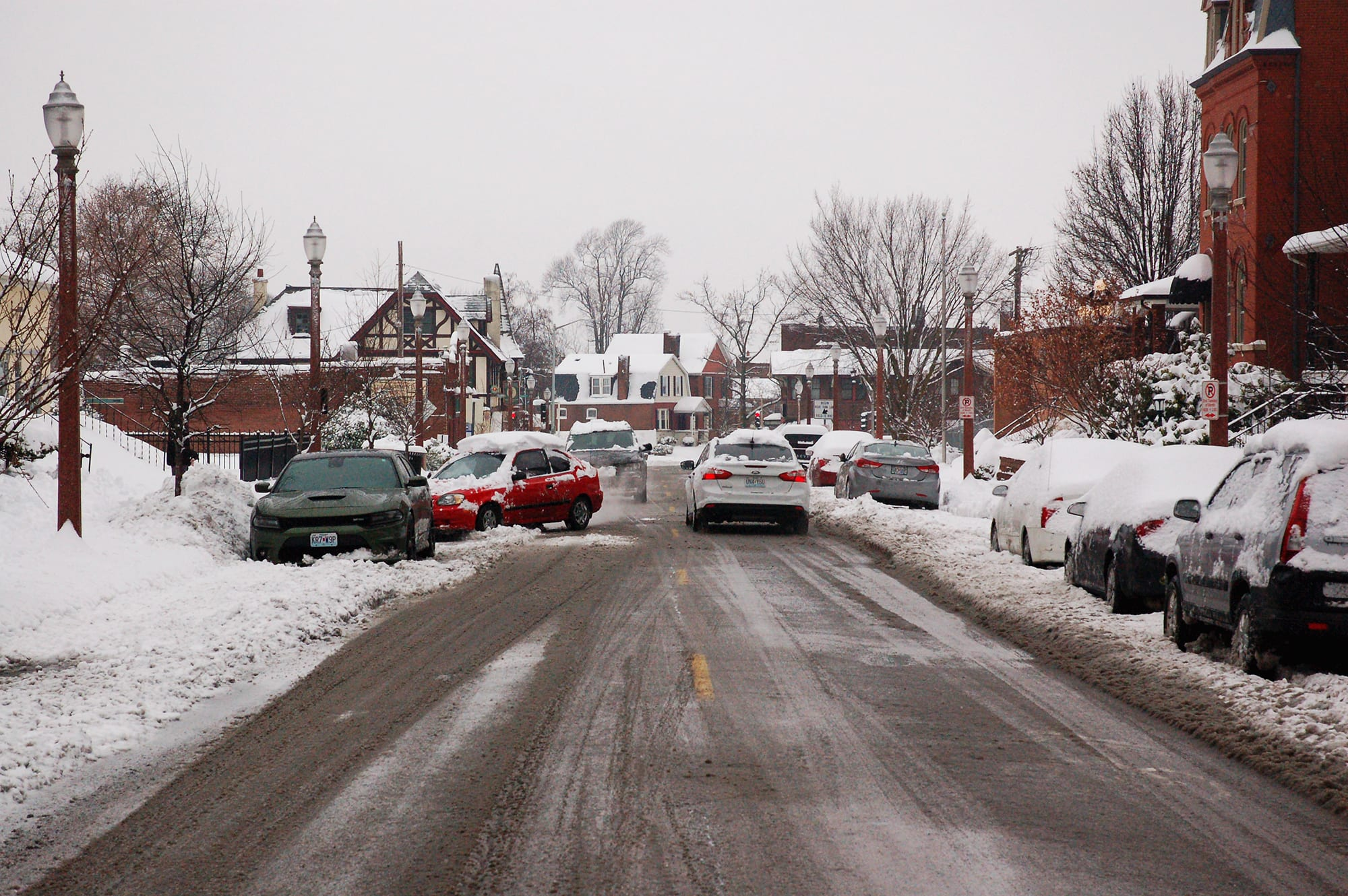 Meramec Street in the snow.