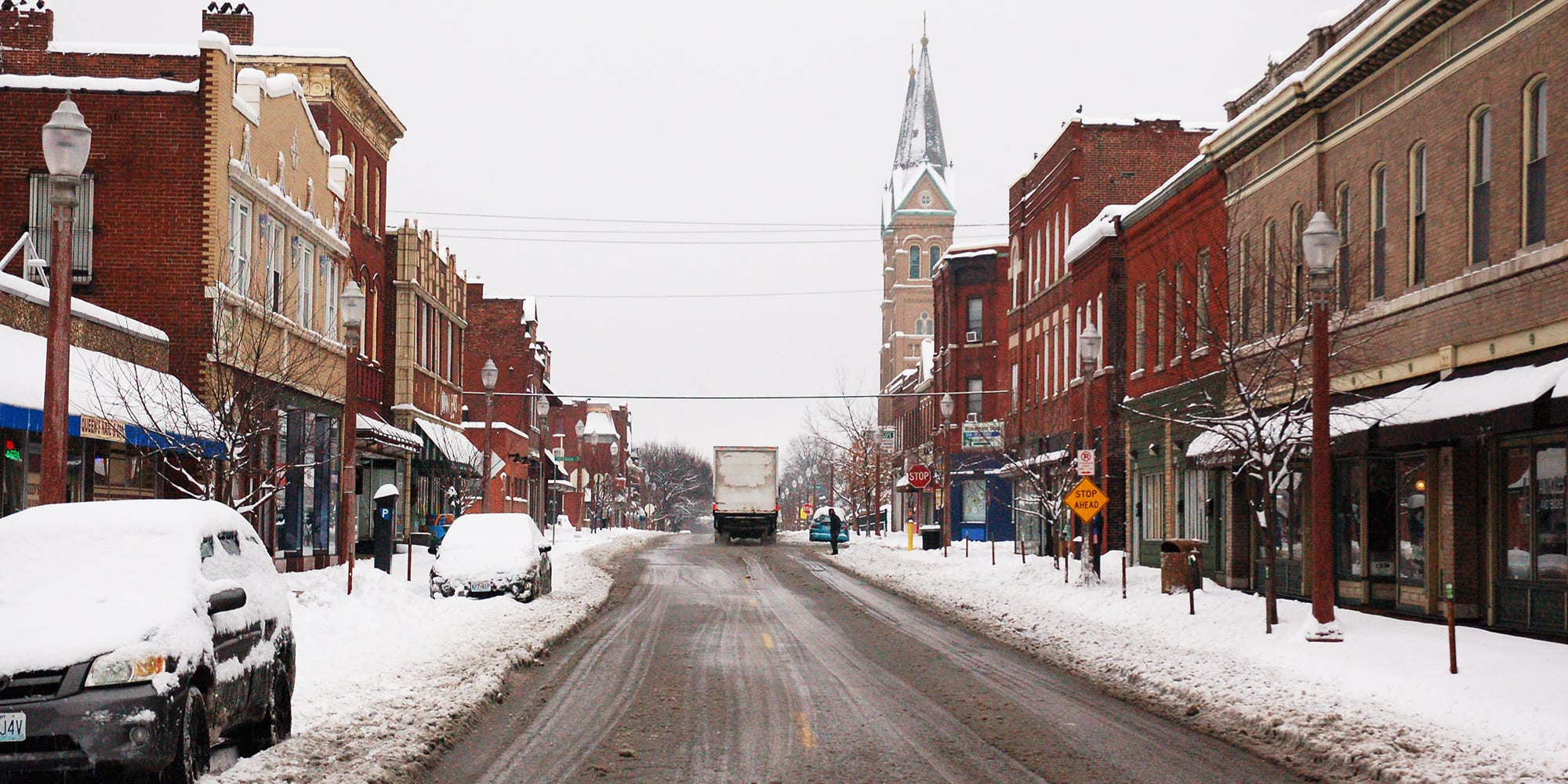 Downtown Dutchtown in the snow.