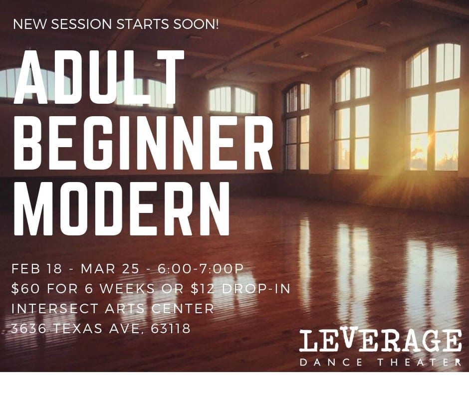 Adult Beginner Modern dance class with Leverage Dance Theater at Intersect Arts Center.