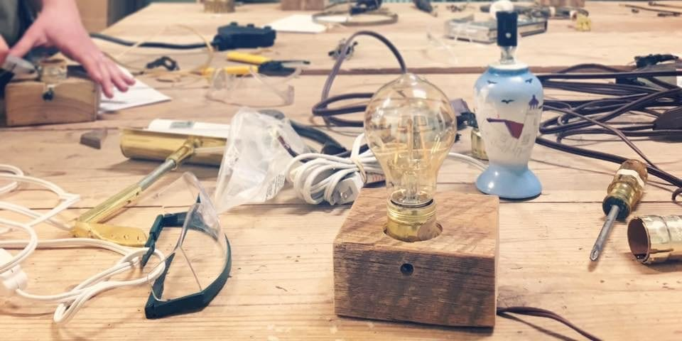 Salvaged Wood Block Lamp Workshop at Perennial.