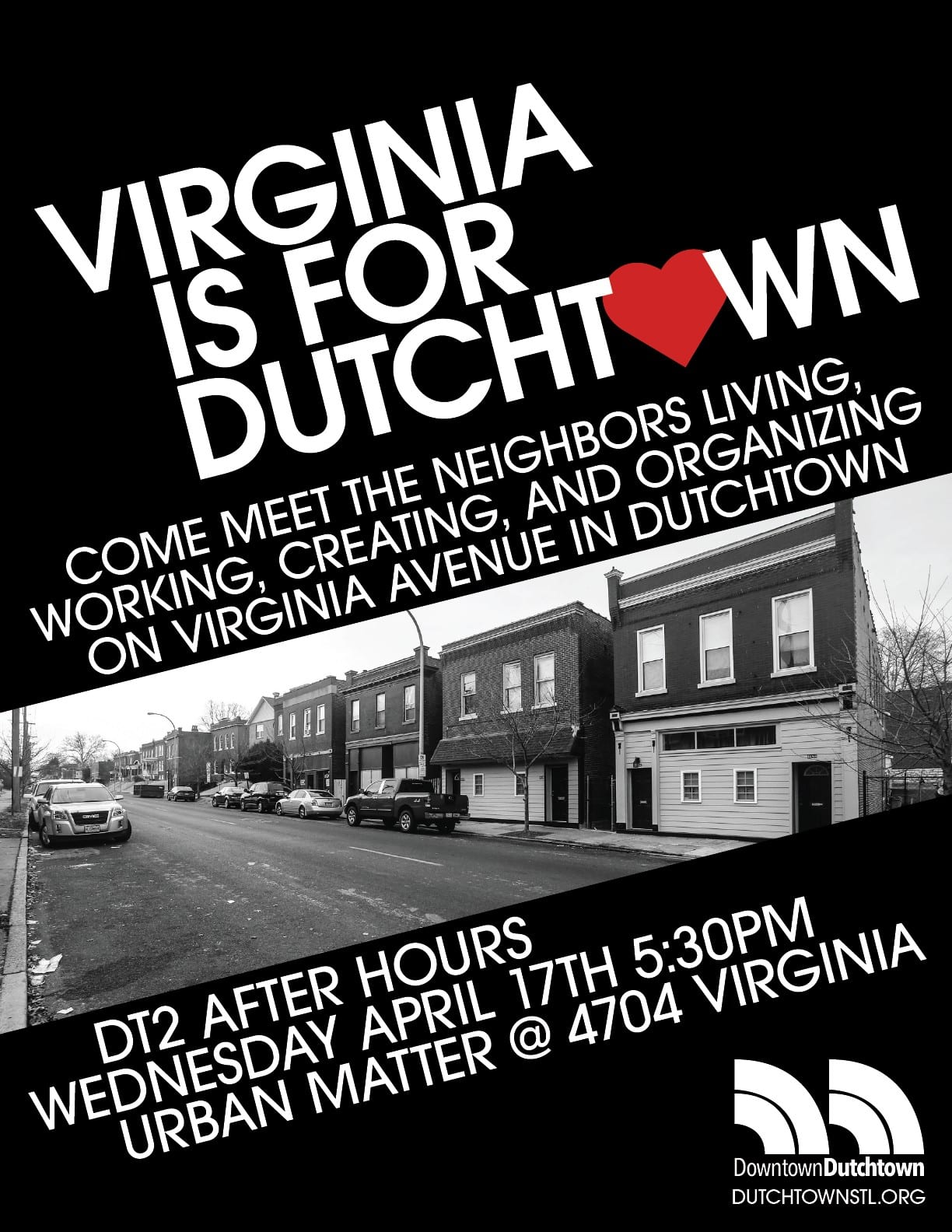 Flyer for Virginia Is For Dutchtown event at Urban Matter.
