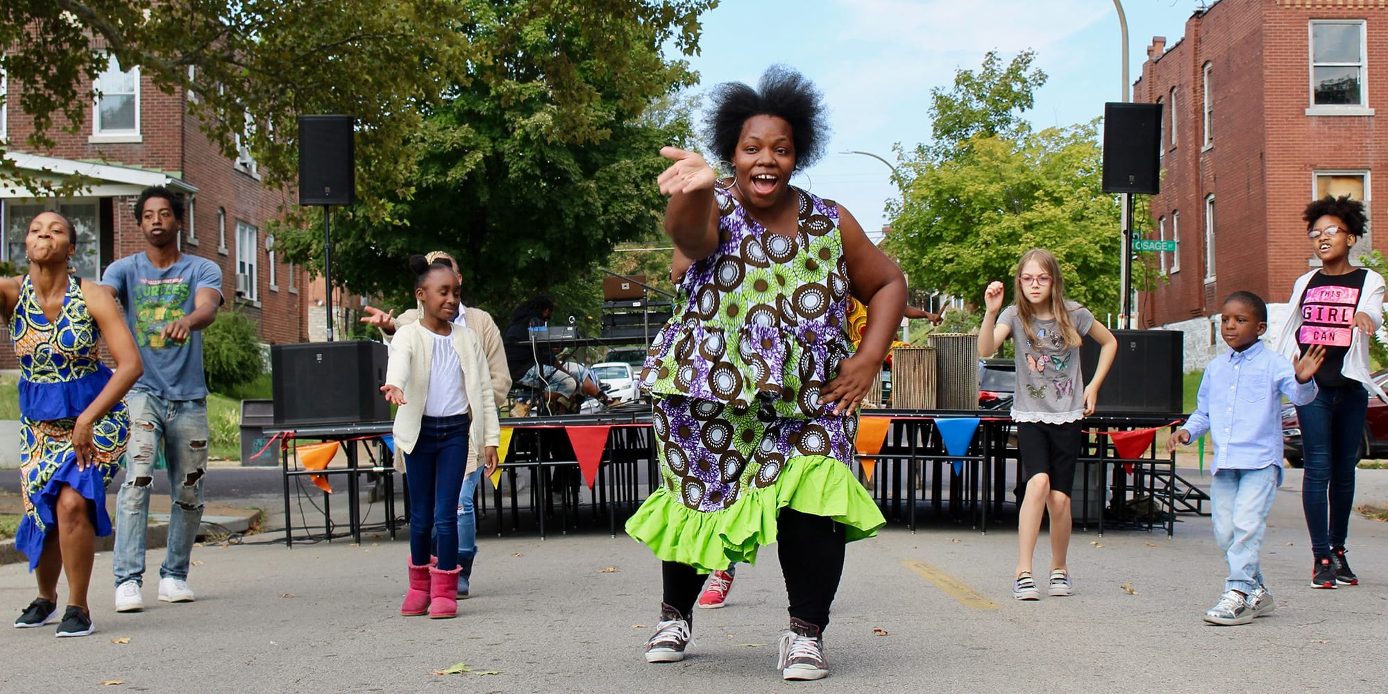 Dancing at the Common Sound Festival at Marquette Park in Dutchtown.