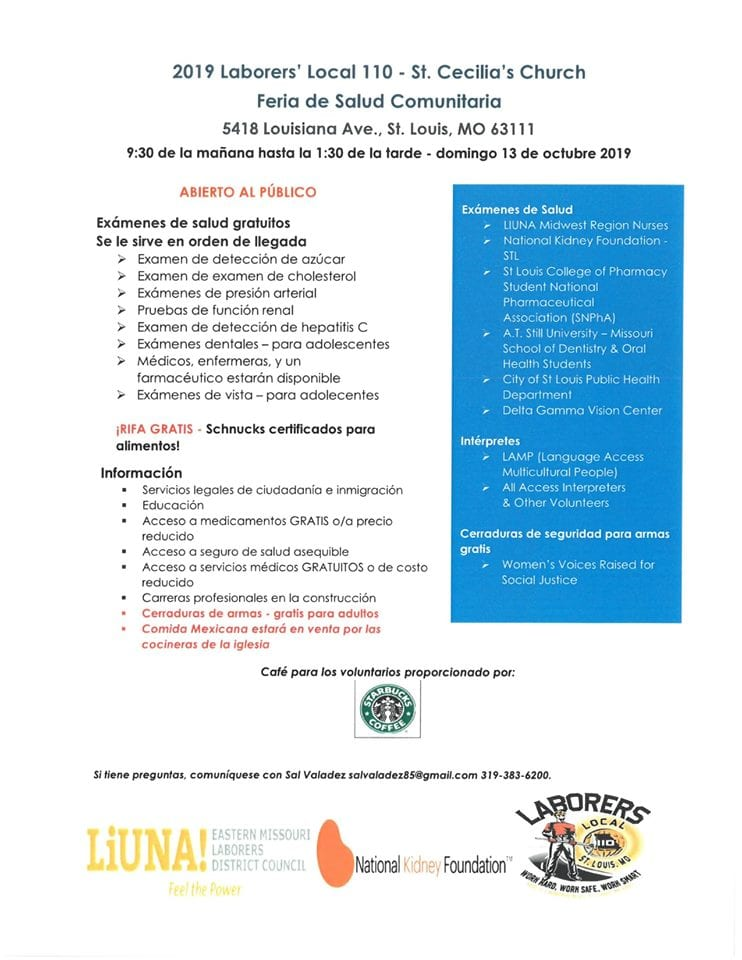 St. Cecilia Health Fair flyer in Spanish.