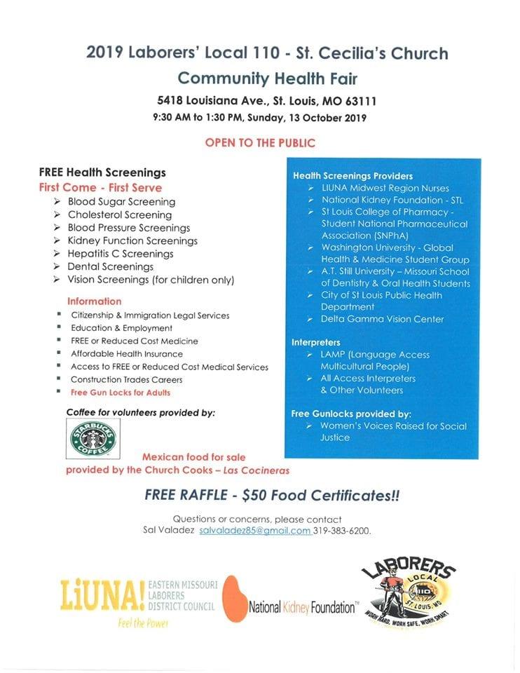 Flyer for the St. Cecilia Health Fair.