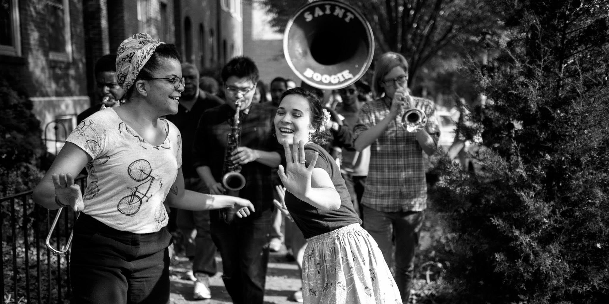 Music and dancing at the Cherokee Street Jazz Crawl.