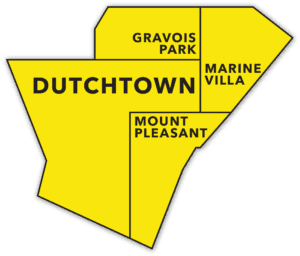 A map of neighborhoods comprising the greater Dutchtown area: Dutchtown, Gravois Park, Marine Villa, and Mount Pleasant.