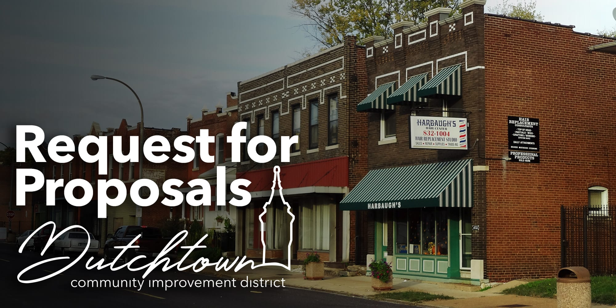 Request for Proposals from the Dutchtown Community Improvement District. Photo of businesses on Virginia Avenue in Dutchtown, St. Louis, Mo.