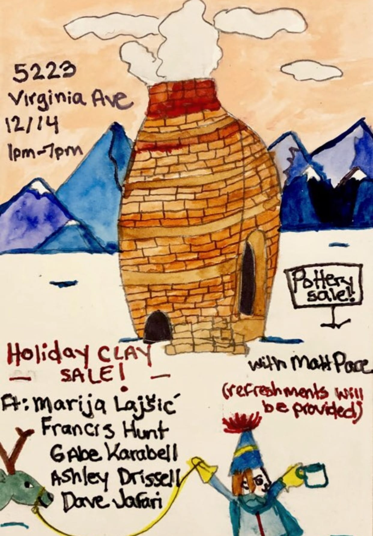 Paul's Pizza annual Holiday Clay Sale.