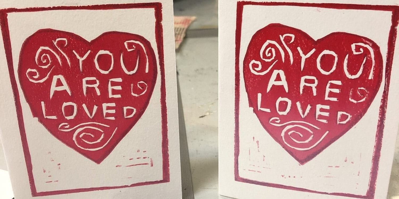 Linocut Valentine cards.