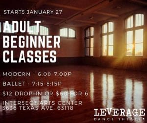 Adult beginner dance classes at Intersect Arts Center.