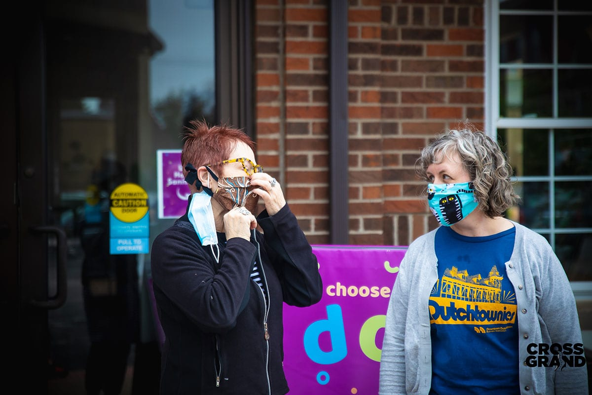 Dutchtown neighbors wearing masks at DT2 After Hours in Downtown Dutchtown. Photo by Chip Smith of Cross Grand.