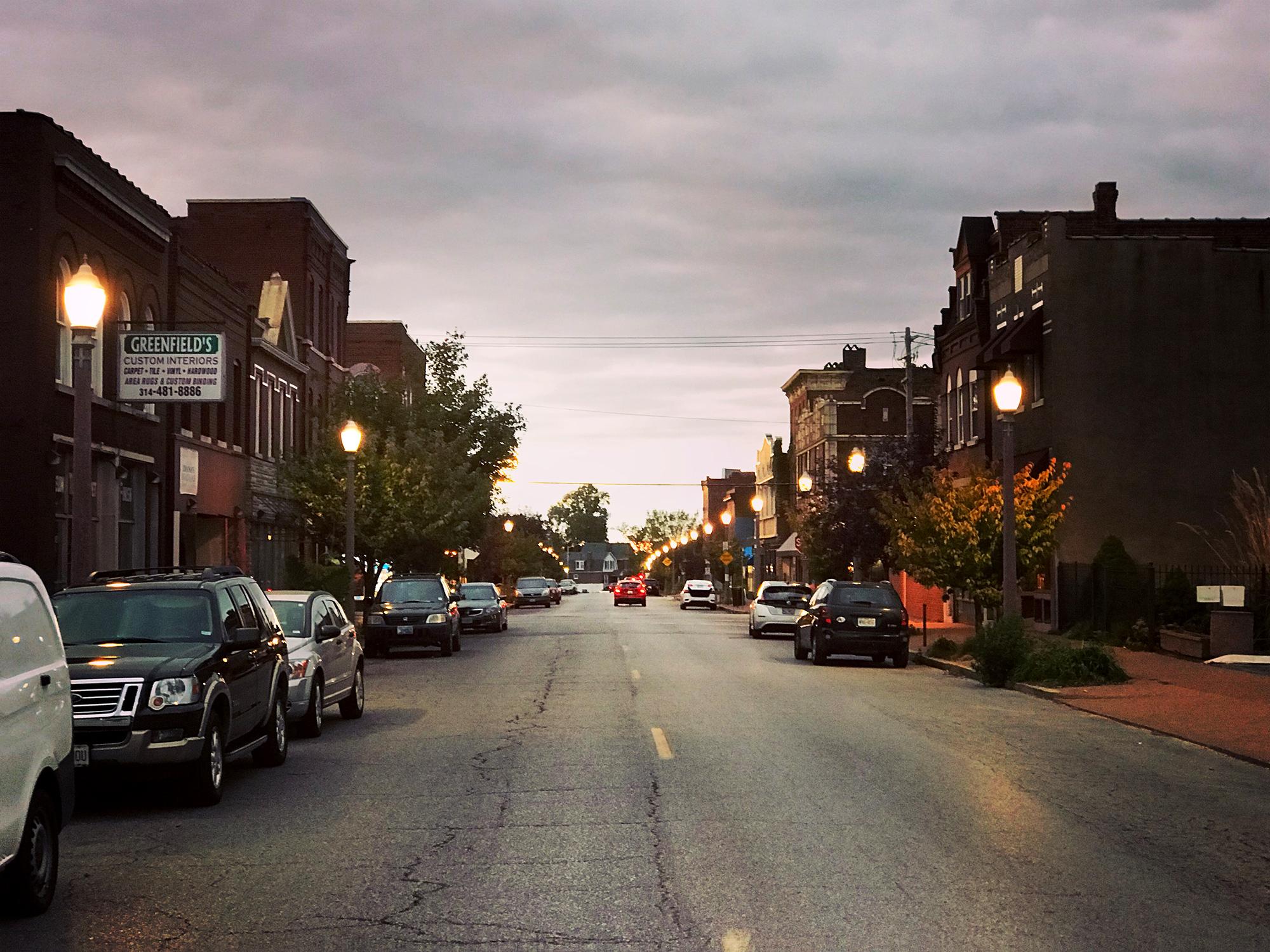 Sunset on Meramec Street in Downtown Dutchtown, St. Louis, MO.